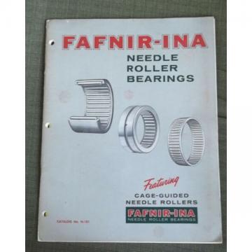 Fafnir Ina Needle Roller Bearings 1966 Catalog N 101